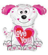 """22"""" Love You Pink and White Doggie Shape Balloon Packaged"""