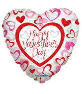 "4"" Happy Valentine's Day Balloon Patterned Hearts"