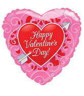"18"" Happy Valentine's Day Balloon Red Heart With Arrow"