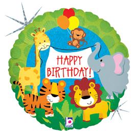 "18"" Holographic Balloon Jungle Animal Birthday"