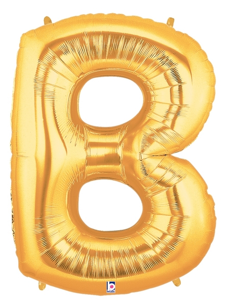 """7"""" Airfill (requires heat sealing) Letter Balloons B Gold"""