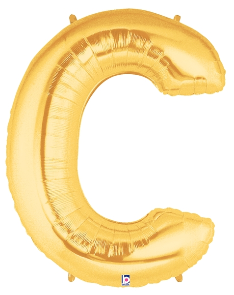 """7"""" Airfill (requires heat sealing) Letter Balloons C Gold"""