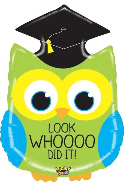 """28"""" Mighty Bright Shape Balloon Mighty Grad Owl"""