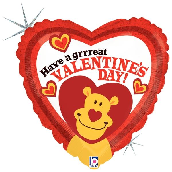 "18"" Holographic Balloon Grrreat Valentine Lion"