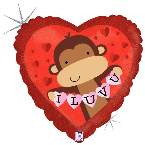 "18"" Holographic Balloon I Love You Monkey Buddy"