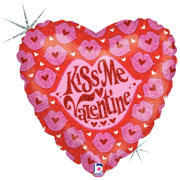 """9"""" Airfill Only Holographic Balloon Kiss Me Valentine"""