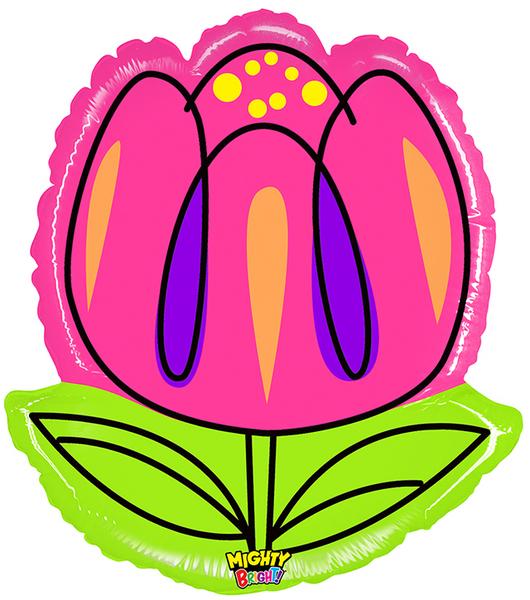 """28"""" Mighty Bright Shape Balloon Mighty Bright Tulip"""