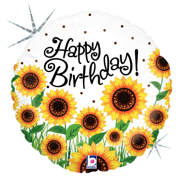 "18"" Holographic Balloon Sunny Sunflowers Birthday"