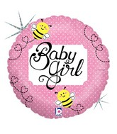 """9"""" Airfill Only Holographic Balloon Baby Girl Bee"""