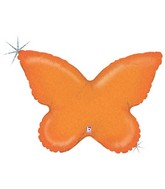 "30"" Holographic Solid Color Butterfly Orange"