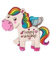 "45"" Foil Shape Balloon Rainbow Birthday Pony"