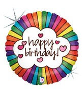 "18"" Holographic Balloon Retro Rainbow Birthday"