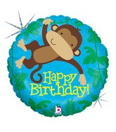"18"" Holographic Balloon Packaged Monkey Buddy Birthday"