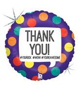 "18"" Holographic Balloon Hashtag Thank You"