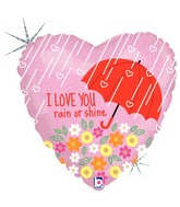 "18"" Holographic Balloon I Love You Rain or Shine"