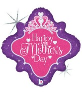 """18"""" Diamond Holographic Balloon Happy Mother's Day Queen"""