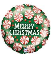 "18"" Single-Sided Balloon Peppermint Christmas"