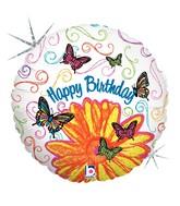 "36"" Holographic Balloon Pop Art Butterfly Birthday"