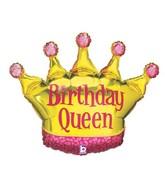 "36"" Foil Shape Balloon Birthday Queen Crown"