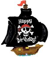 "46"" Foil Shape Balloon Pirate Ship Birthday"