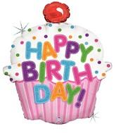 "31"" Holographic Shape Balloon Happy Birthday Cupcake"