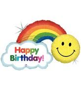 "45"" Holographic Shape Happy Birthday Rainbow"
