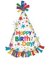 "34"" Holographic Shape Balloon Happy Birthday Hat"