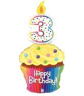 "47"" Foil Shape Balloon Happy 3rd Birthday Cupcake"