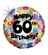 """18"""" Holographic Balloon 60th Party Birthday"""
