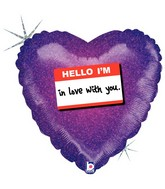 """18"""" Holographic Balloon Packaged Hello I'm In Love with You"""
