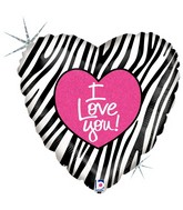 "18"" Holographic Balloon I Love Zebra"