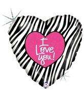 "18"" Holographic Balloon I Love Zebra"