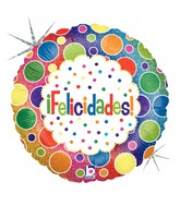 "18"" Holographic Balloon Packaged Felicidades Bolas"