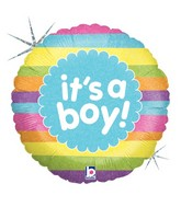 """18"""" Holographic Packaged It's A Boy Rainbow Stripes"""