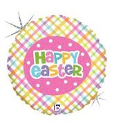 "18"" Holographic Balloon Springtime Easter Plaid"