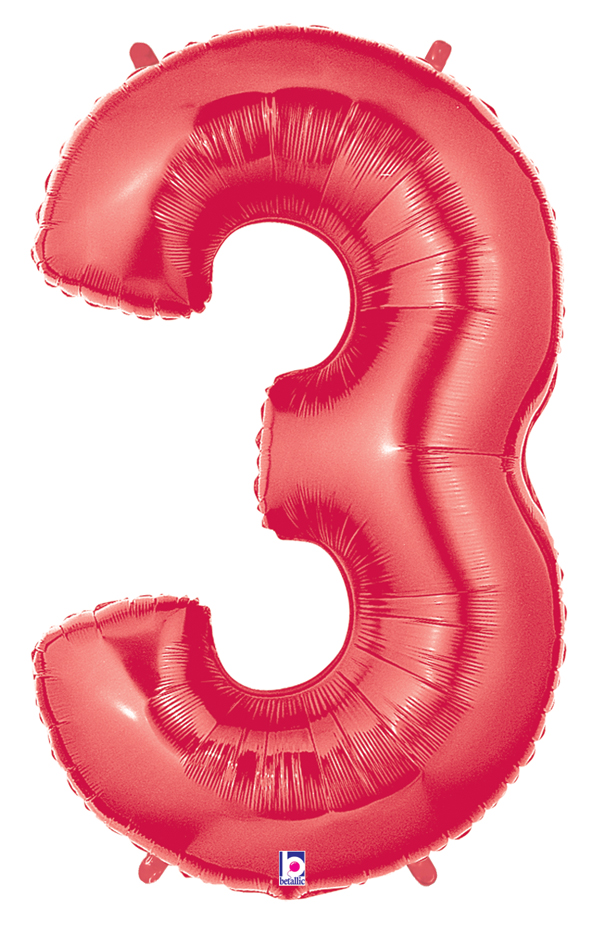 """40"""" Large Number Balloon 3 Red"""