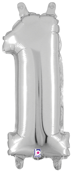 """14"""" Valved Air-Filled Shape 1 Silver Balloon"""
