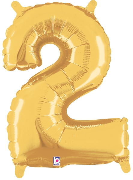 """7"""" Airfill (requires heat sealing) Number Balloon 2 Gold"""