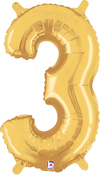 """7"""" Airfill (requires heat sealing) Number Balloon 3 Gold"""