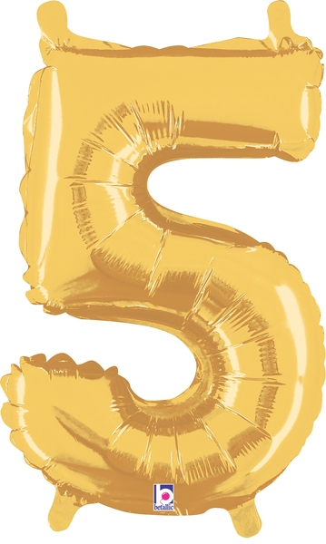 "7"" Airfill (requires heat sealing) Number Balloon 5 Gold"