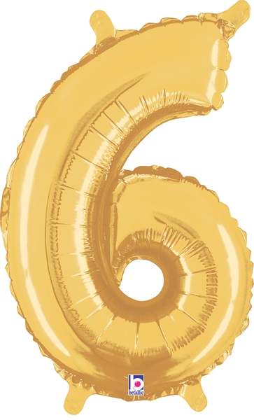 """7"""" Airfill (requires heat sealing) Number Balloon 6 Gold"""