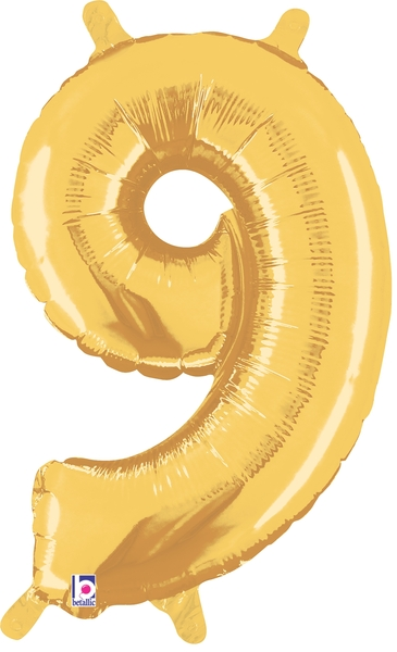 """14"""" Valved Air-Filled Shape 9 Gold Balloon"""