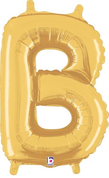 "14"" Valved Air-Filled Shape B Gold Balloon"
