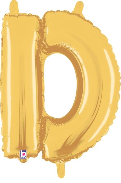 """7"""" Airfill (requires heat sealing) Letter Balloons D Gold"""