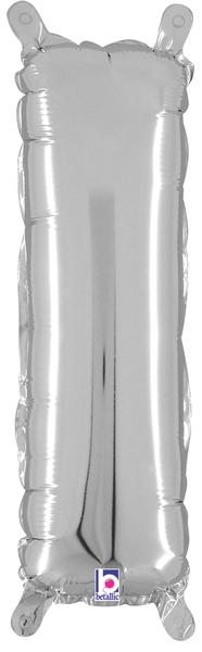 """14"""" Valved Air-Filled Shape I Silver Balloon"""