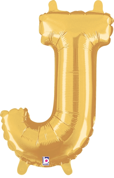 "14"" Valved Air-Filled Shape J Gold Balloon"