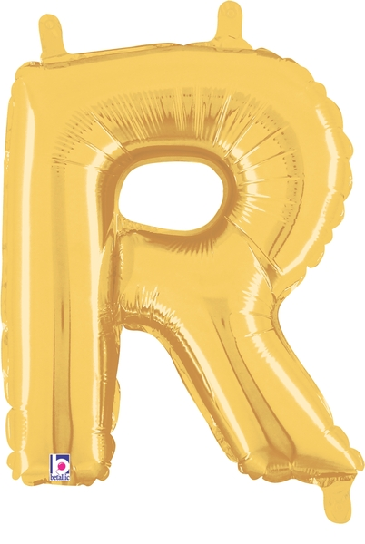 """7"""" Airfill (requires heat sealing) Letter Balloons R Gold"""