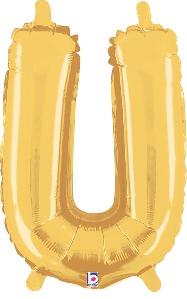"14"" Valved Air-Filled Shape U Gold Balloon"