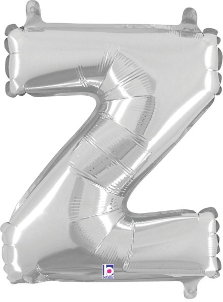 """7"""" Airfill (requires heat sealing) Letter Balloons Z Silver"""