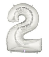 """40"""" Large Number Balloon 2 Silver"""